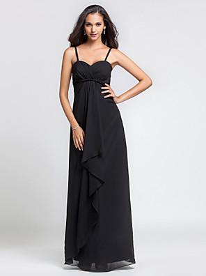 Lanting Bride® Na zem Šifón Šaty pro družičky Pouzdrové Srdce / Špagetová ramínka Větší velikosti / Malé s Volánky / Křížení