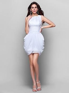 Cocktail / Rimpatriata di classe / Laurea Vestito - Corto A tubino Con decorazione gioiello Corto / mini Chiffon / Di pizzo conDi pizzo /