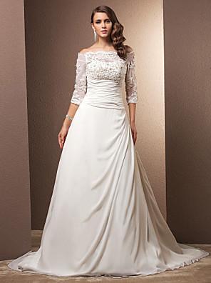 Lanting Bride® גזרת A קטן / מידה גדולה שמלת כלה - קלסי ונצחי / זוהר ודרמטיות בהשפעת וינטאג' שובל קורט מתחת לכתפיים שיפון עםאפליקציות /