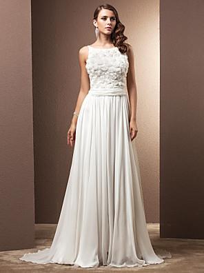 Lanting Bride A-line Petite / Plus Sizes Wedding Dress-Sweep/Brush Train Jewel Chiffon
