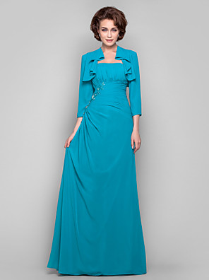 Dress Sheath / Column Strapless Floor-length Chiffon with Appliques / Beading / Draping / Side Draping