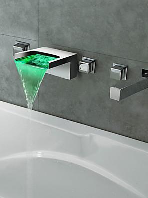 Thermochrome chroom led waterval badkamer bad kraan
