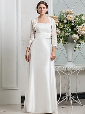 Lanting Bride® Sheath / Column Petite / Plus Sizes Wedding Dress - Classic & Timeless / Glamorous & Dramatic Wedding Dresses With Wrap