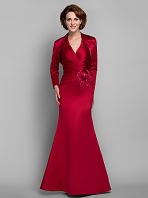 Trumpet / Mermaid Plus Size / Petite Mother of the Bride Dress - Lace-up / Wrap Included Floor-length Long Sleeve Satin withBeading /