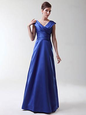 Lanting Bride® עד הריצפה סאטן נמתח שמלה לשושבינה - גזרת A / נסיכה צווארון וי פלאס סייז (מידה גדולה) / פטיט עם בד בהצלבה