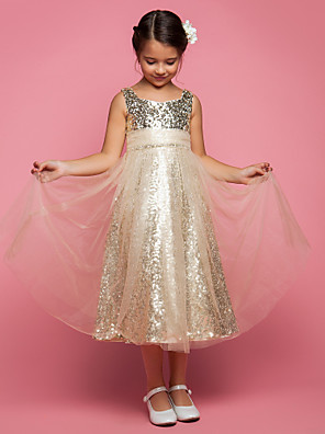 Lanting Bride A-line / Princess Tea-length Flower Girl Dress - Tulle Sleeveless Jewel with Ruching / Sequins