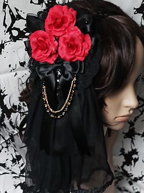 תכשיטים לוליטה גותי לבוש ראש לוליטה אדום / Black לוליטה אביזרים אביזר לשיער פרחוני ל גברים / נשים סאטן / תחרה / אבני חן מלאכותיים
