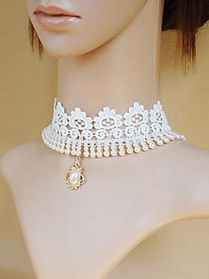 תכשיטים לוליטה קלאסית ומסורתית שרשרת נסיכות לבן לוליטה אביזרים שרשרת דפוס ל גברים / נשים תחרה / סגסוגת / אבני חן מלאכותיים