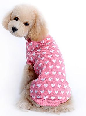 kočičky / pejsky svetry Růžová Oblečení pro psy Zima Srdce Zahřívací
