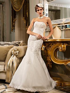 Lanting Bride® Sereia Pequeno / Tamanhos Grandes Vestido de Noiva - Clássico e atemporal / Glamouroso e Dramático Longo Tomara que Caia