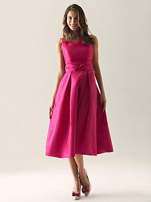 Lanting Bride® באורך הקרסול טפטה שמלה לשושבינה - גזרת A / נסיכה מרובע / רצועות פלאס סייז (מידה גדולה) / פטיט עם פפיון(ים) / תד נשפך