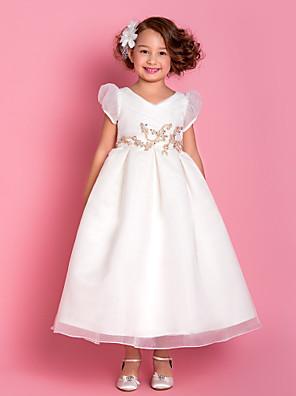 A-line / Princess Tea-length Flower Girl Dress - Organza Short Sleeve V-neck with Appliques / Beading / Draping / Criss Cross / Ruching