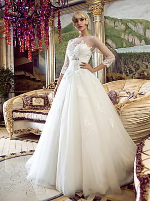 Lanting Bride® Linha A / Princesa Pequeno / Tamanhos Grandes Vestido de Noiva Cauda Corte Canoa Tule com