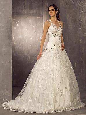 Lanting Bride® Linha A Pequeno / Tamanhos Grandes Vestido de Noiva - Clássico e atemporal / Elegante e Luxuoso Estilos RendadosCauda