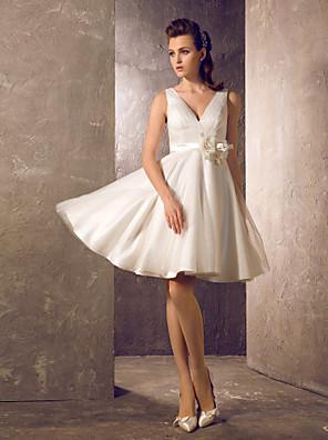 Lanting Bride A-line / Princess Petite / Plus Sizes Wedding Dress-Knee-length V-neck Tulle