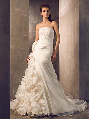 בתולת ים \ חצוצרה קטן / מידה גדולה שמלת כלה - אלגנטי ויוקרתי / זוהר ודרמטיות שמלות חתונה שתיים באחת שובל קורט סטרפלס אורגנזה עםקפלי בד