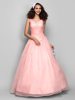 TS Couture® Prom / Formal Evening Dress - Open Back Plus Size / Petite Ball Gown Straps Floor-length Organza with Beading / Ruching / Criss Cross