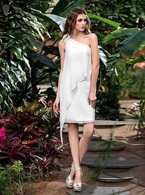 Lanting Bride® Sheath / Column Petite / Plus Sizes Wedding Dress - Classic & Timeless / Reception Short / Mini One Shoulder Chiffon with