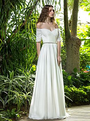 Lanting Bride® גזרת A קטן / מידה גדולה שמלת כלה - שיק ומודרני / זוהר ודרמטיות עד הריצפה מתחת לכתפיים שיפון עם