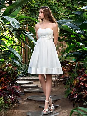 몸집이 작은 A 라인 신부 lanting / 플러스 웨딩 드레스 무릎 길이의 끈 쉬폰 / 스트레치 새틴 크기