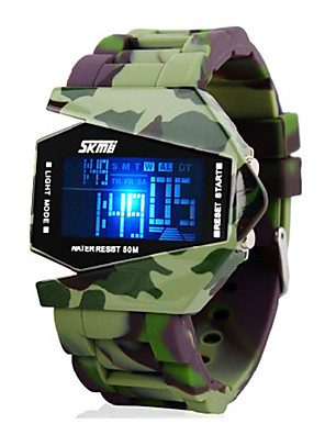 SKMEI® Men's Watch Camouflage Military Stealth Aircraft LED Multi-Function Cool Watch Unique Watch Fashion Watch
