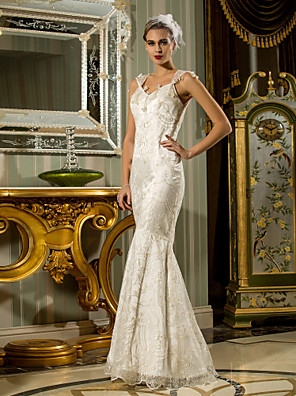 Lanting Bride® Mořská panna Drobná / Nadměrné velikosti Svatební šaty - Elegantní & moderní Lesk a flitry / Retro / Krajka Na zemKrálovna