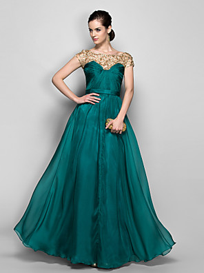 TS Couture® Formal Evening / Military Ball Dress - Elegant Plus Size / Petite A-line Bateau Floor-length Chiffon with Lace / Criss Cross