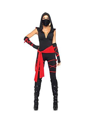 תחפושות קוספליי / תחפושת למסיבה Ninja פסטיבל/חג תחפושות ליל כל הקדושים שחור קולור בלוק כפפות / חגורה / עוד אביזרים / חליפת חתולהאלווין