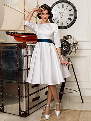 Lanting Bride® Linha A Pequeno / Tamanhos Grandes Vestido de Noiva - Clássico e atemporal / Recepção Simplesmente Sublime Até os Joelhos