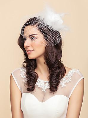 Véus de Noiva Uma Camada Véu Ruge / Véus de Rede Tule Branco / Preto Linha-A, Vestido de Baile, Princesa, Bainha/Coluna, Trompete/Sereia