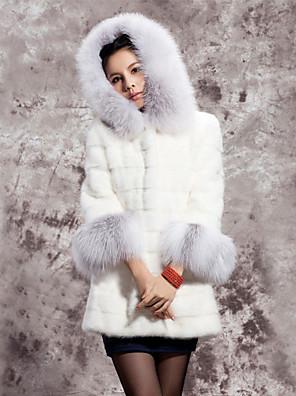 Hosszú ujjú kapucnis Faux Fur Party / alkalmi kabát (több szín)