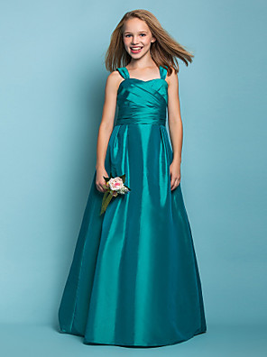 Lanting Bride® עד הריצפה טפטה שמלה לשושבינות הצעירות  גזרת A / נסיכה מרובע / רצועות טבעי עם סרט / סלסולים / בד בהצלבה
