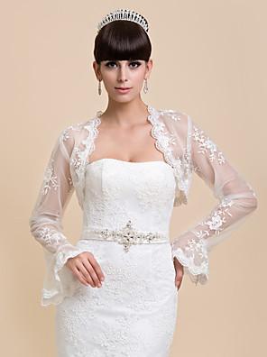 כורכת חתונה מעילים / מעילים שרוול ארוך תחרה לבן חתונה / מסיבה / ערב / קז'ואל Bell שרוולי פתח חזית