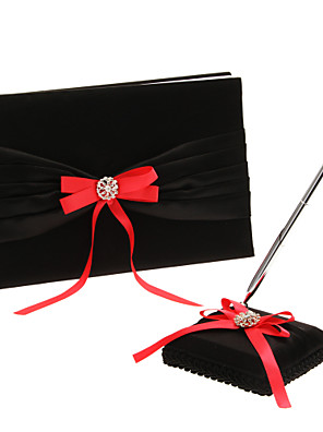 """Livro de Convidados / Caneta(Laço / Strass, deCetim) -Tema Clássico Livro de Convidados / Conjunto de Canetas Preto9 1/2 """"× 6 1/3"""" (24 cm"""