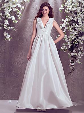 Lanting Bride® גזרת A קטן / מידה גדולה שמלת כלה - קלסי ונצחי עד הריצפה צווארון וי טפטה עם