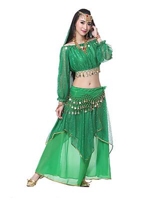 ריקוד בטן תלבושות בגדי ריקוד נשים ביצועים משי Top Length:20cm Dress Length:85cm