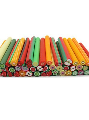 50stk 3d farverige frugt design fimo canes stænger nail art dekoration