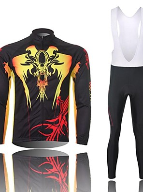 XINTOWN® חולצת ג'רסי וטייץ ביב לרכיבה לגברים שרוול ארוך אופנייםנושם / שמור על חום הגוף / ייבוש מהיר / עמיד / חדירות ללחות / דחיסה /
