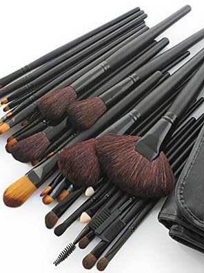 Jogo com 32 Pincéis de Maquiagem Profissional de Pêlo de Cabra com Cabo Preto. Grátis Estojo para Pincéis.