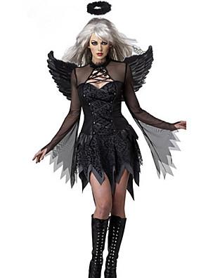 תחפושות קוספליי / תחפושת למסיבה מלאך ושטן פסטיבל/חג תחפושות ליל כל הקדושים שחור אחיד שמלה / כנפיים האלווין (ליל כל הקדושים) / קרנבל נקבה