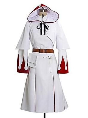 קיבל השראה מ Final Fantasy White Mage וִידֵאוֹ מִשְׂחָק תחפושות קוספליי חליפות קוספליי דפוס לבן שרוולים ארוכים שמלה / צעיף / חגורה / תיק