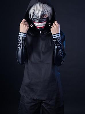 חליפות קוספליי קיבל השראה מ טוקיו ר 'ול קן Kaneki אנימה אביזרי קוספליי מעיל / עליון / מכנסיים / מכנסיים קצרים / מסכה שחור PU עור / בד אחיד