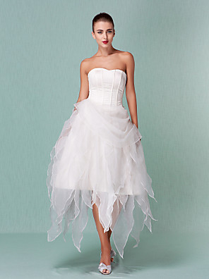 Lanting Bride® A-line / Princess Petite / Plus Sizes Wedding Dress - Chic & Modern Little White Dresses Asymmetrical Sweetheart Organza