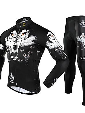 FJQXZ® חולצה וטייץ לרכיבה לגברים שרוול ארוך אופנייםנושם / שמור על חום הגוף / ייבוש מהיר / עמיד / עמיד אולטרה סגול / רוכסן קדמי / לביש /