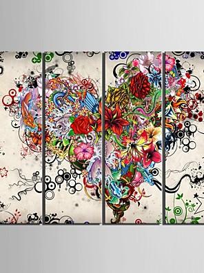 Lærredstryk kunst farvede hjerter sæt med 4