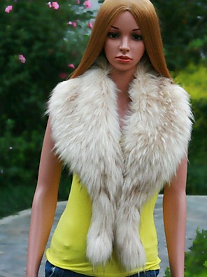 Dámské módní velký límec beigo barevné kožešiny šály