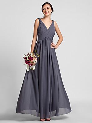 Lanting Bride® עד הריצפה שיפון שמלה לשושבינה - מעטפת \ עמוד צווארון וי פלאס סייז (מידה גדולה) / פטיט עם תד נשפך / בד בהצלבה