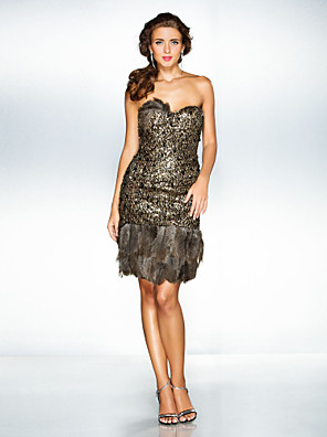 TS Couture® Cocktail Party / Prom / Holiday Dress - Open Back / Sparkle & Shine / Sexy / Short Plus Size / Petite A-line / Princess Sweetheart