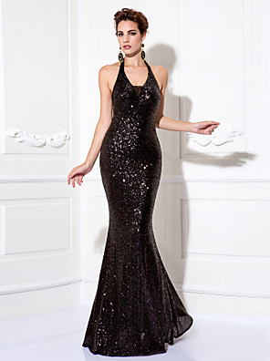 TS Couture® Prom / Formal Evening / Black Tie Gala Dress Plus Size / Petite Sheath / Column Halter Floor-length Sequined with