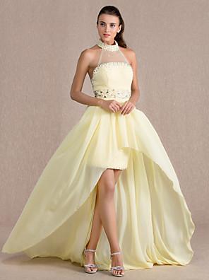 Evento Formal Vestido - Espalda Abierta Funda / Columna Cuello Alto Asimétrica Raso / Tul conCuentas / Detalles de Cristal / Recogido /